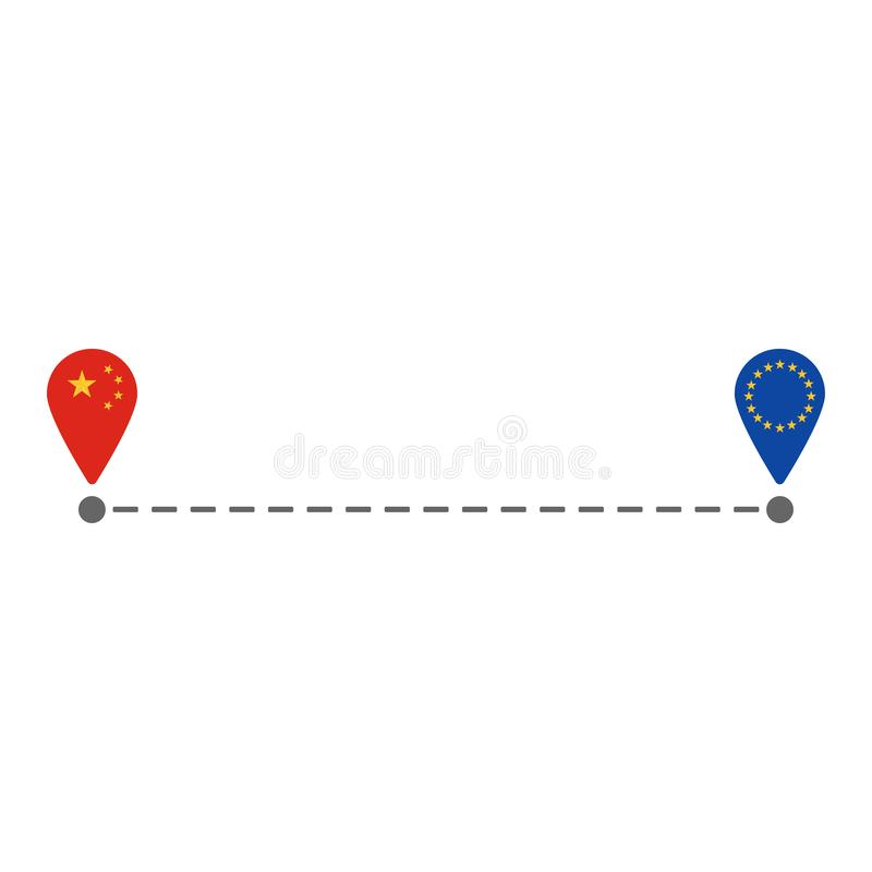From china to eu map pin route vector illustration