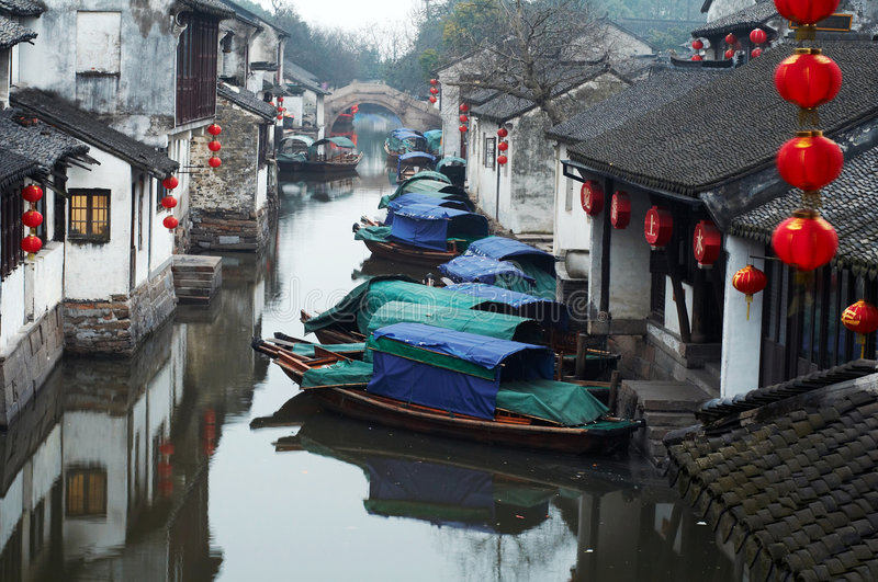 China tourism: Zhouzhuang ancient Water town stock photo