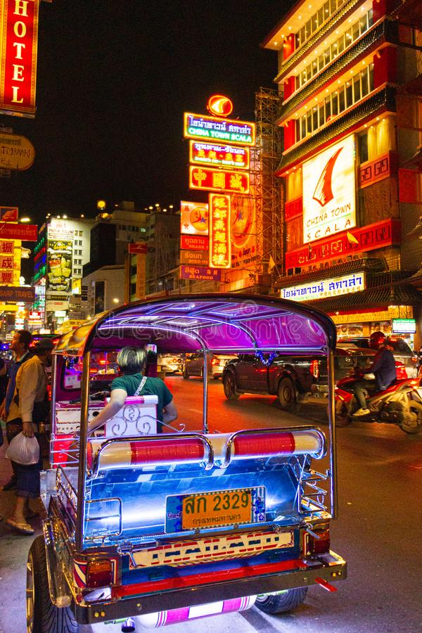 China Town, Bangkok, Thailand - September 6,2019 : CHINA TOWN the one of landmark for Thailand called night street food and gold stock photo