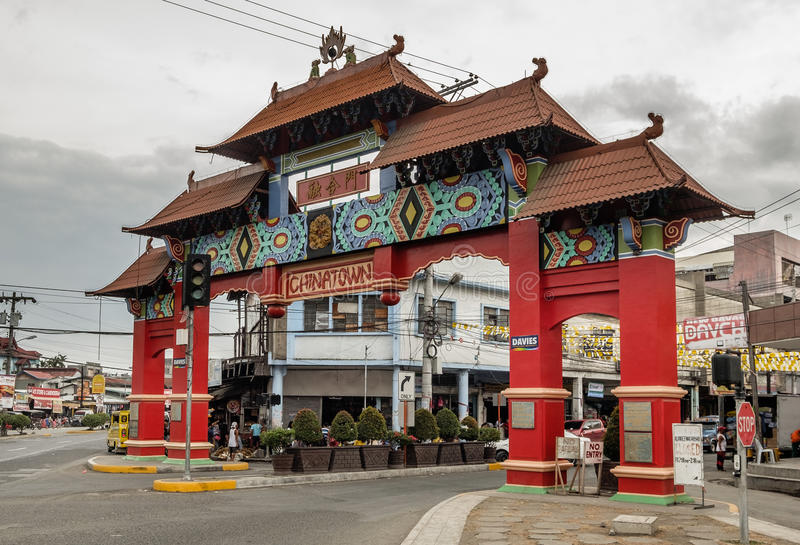 China town of Davao city, Philippines. August 21 - 2016: Red colored and Chinese style Unity Arch gate of China town in city of Davao stock photo