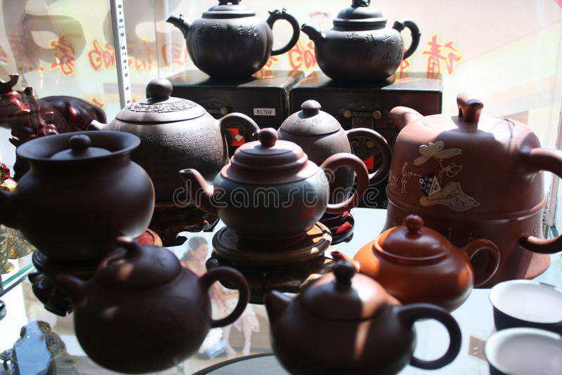 China town tea pots royalty free stock image