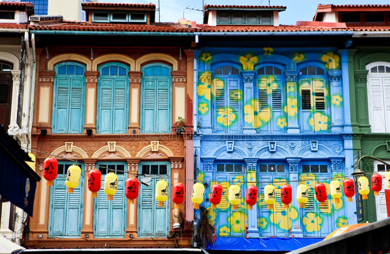 China town. Window frame of China town in Singapore royalty free stock photography