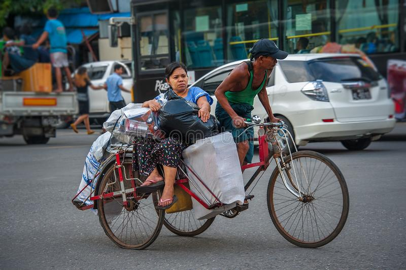 DAILY LIFE IN YANGON royalty free stock photo