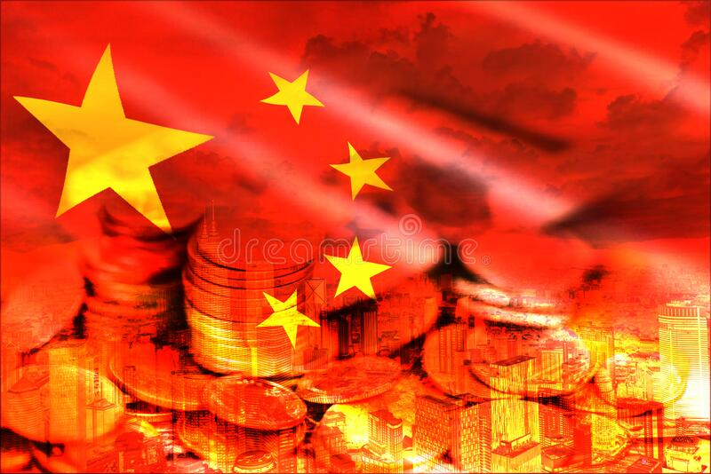China trade war economy conflict tax business finance - China stock market exchange money crisis raised taxes USA and China royalty free stock photos