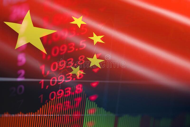 China trade war economy conflict tax business finance - China stock market exchange money crisis raised taxes USA and China royalty free stock photography
