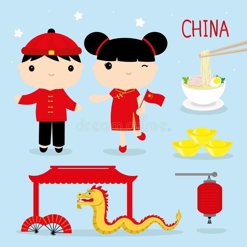 China Tradition Food Place Travel Asia Mascot Boy and Girl Cartoon Vector. Design vector illustration