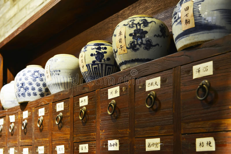 China traditional medicine store or old Chinese pharmacy. The scene of China traditional medicine store or old Chinese pharmacy, Chinese herbal medicine ceramic stock photo