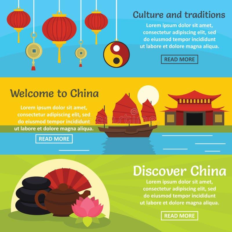 China travel banner horizontal set, flat style stock illustration