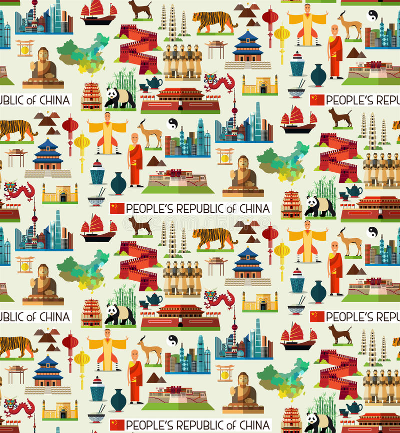 China Travel Collection. China Seamless Flat Pattern. Vector Set of Various Chinese Icons royalty free illustration