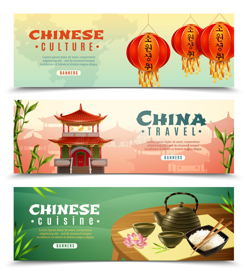 China Travel Horizontal Banner Set. Three cartoon china travel horizontal banner set with button and Chinese culture descriptions vector illustration royalty free illustration