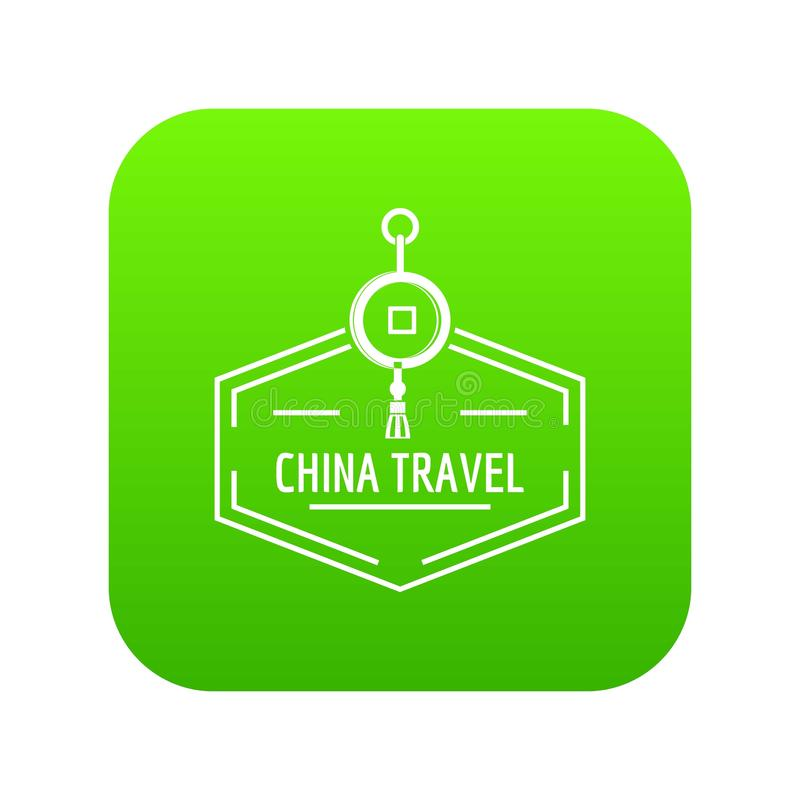 China travel icon green vector vector illustration