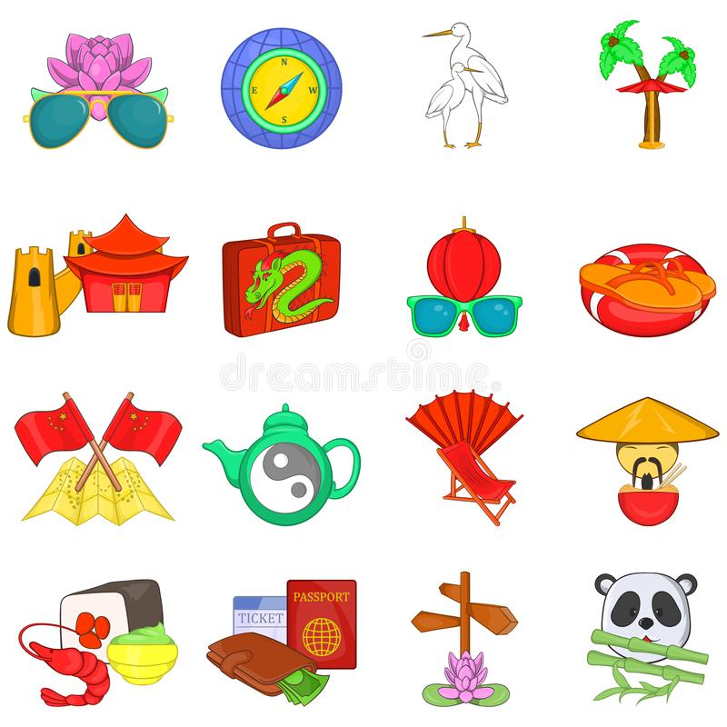 China travel icons set, cartoon style vector illustration
