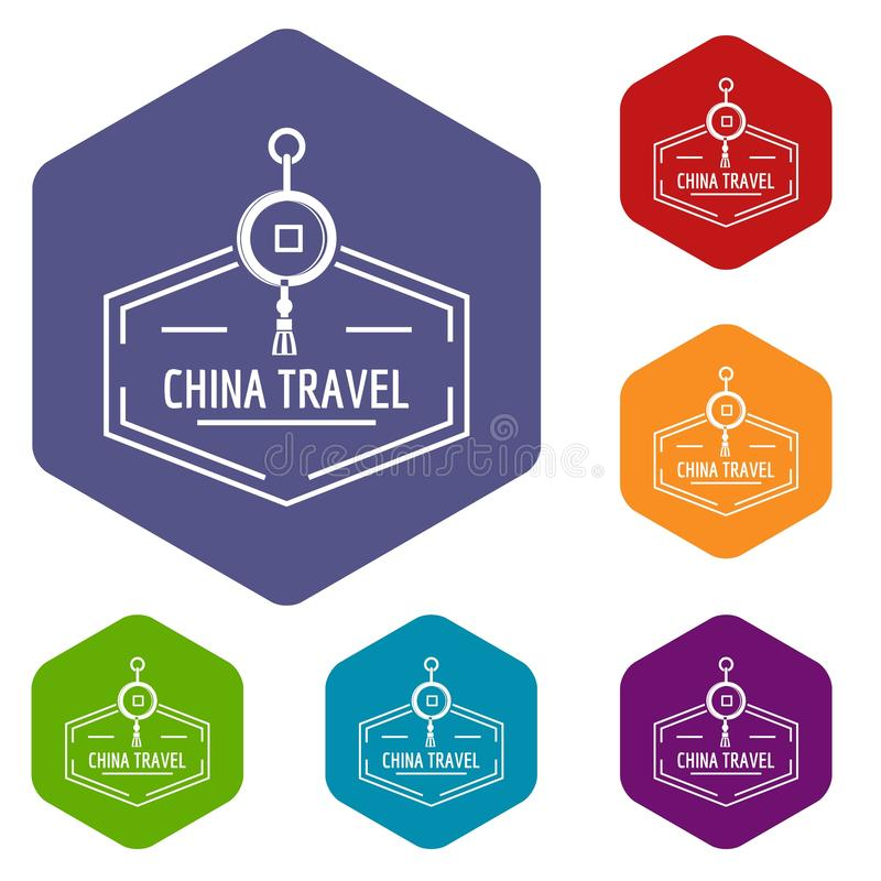 China travel icons vector hexahedron stock illustration