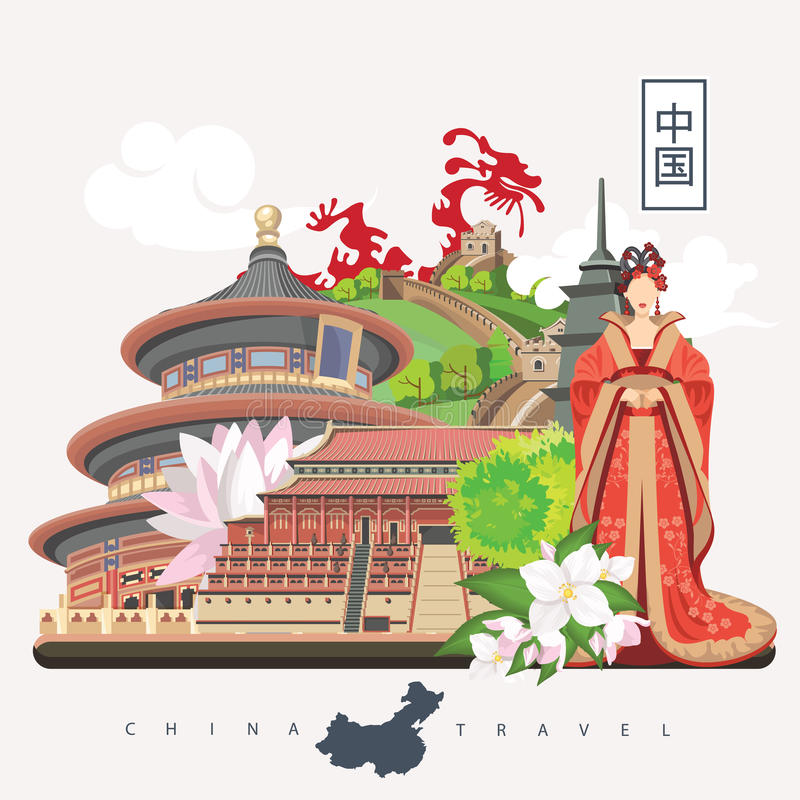 China travel illustration with chinese girl. Chinese set with architecture, food, costumes, traditional symbols. Chinese tex. China travel vector illustration vector illustration