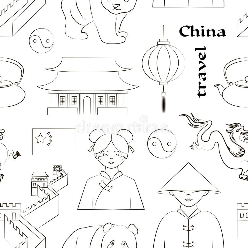 China travel pattern vector illustration