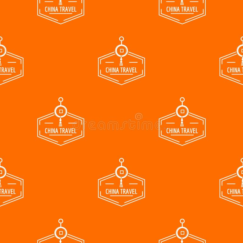 China travel pattern vector orange royalty free illustration
