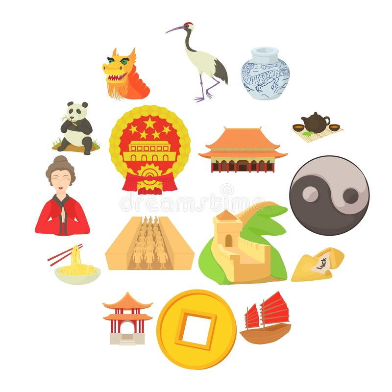 China travel sport icons set, cartoon style royalty free illustration