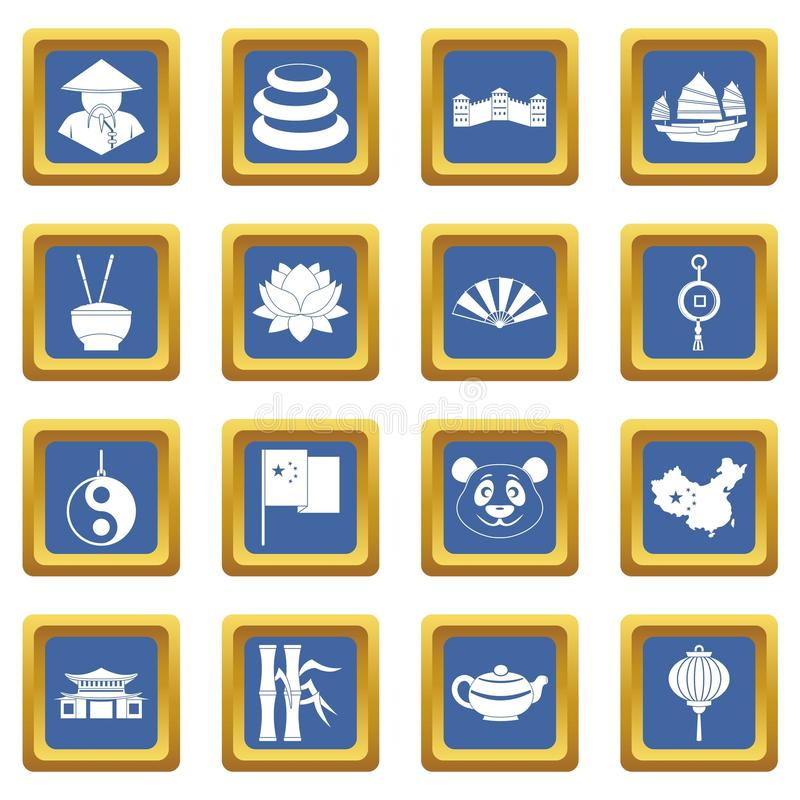 China travel symbols icons set blue vector illustration