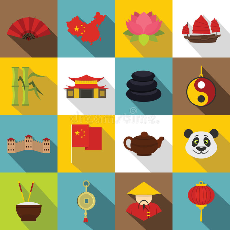 China travel symbols icons set, flat style stock illustration