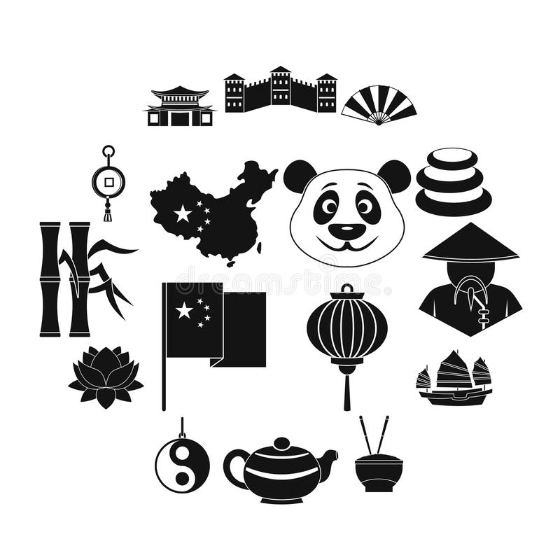 China travel symbols icons set, simple style royalty free illustration
