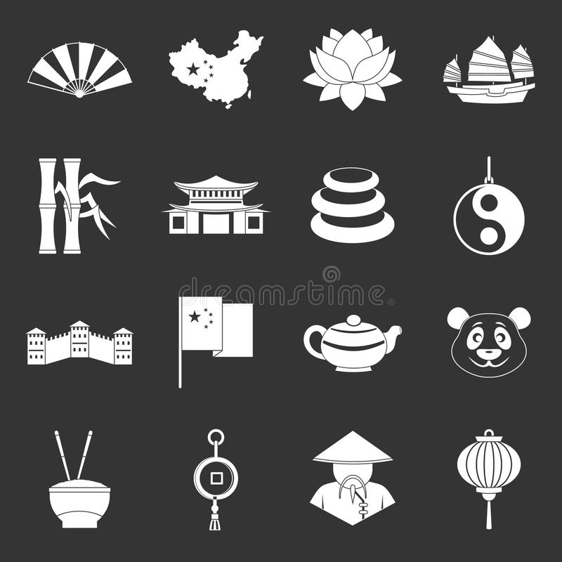 China travel symbols icons set grey vector illustration