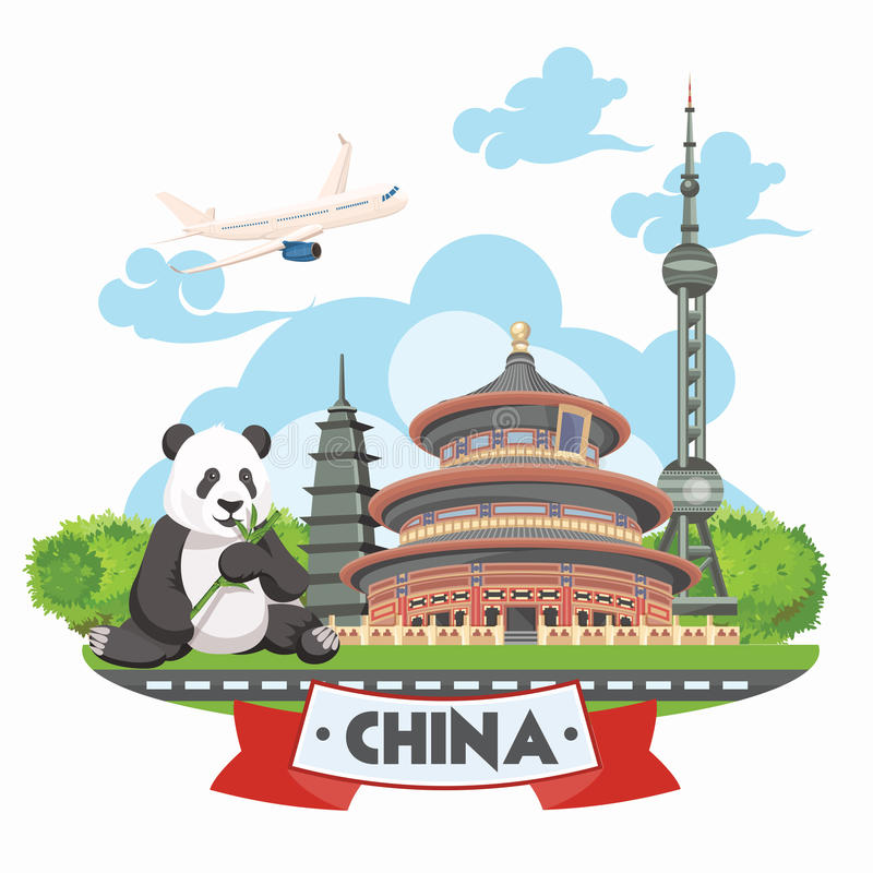 China travel vector illustration. Chinese set with architecture, food, costumes, traditional symbols. Chinese tex. China travel vector illustration. Chinese set vector illustration