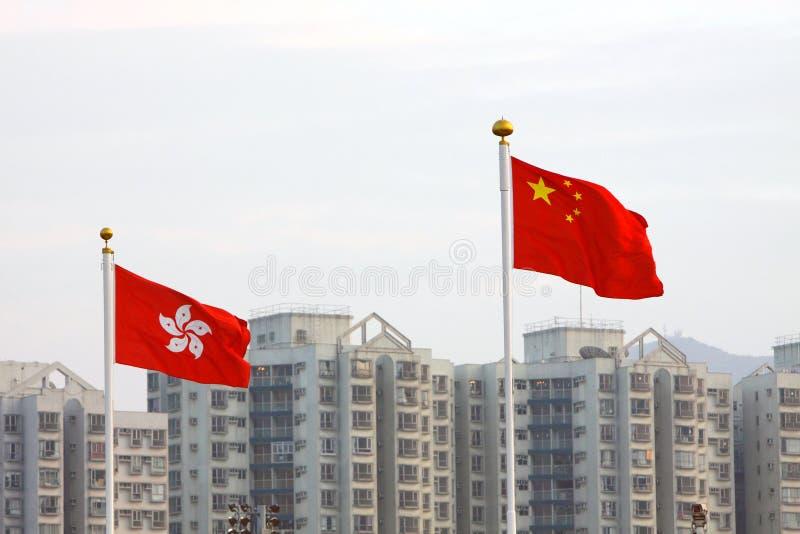 China-u. Hong- Kongmarkierungsfahnen stockfotografie