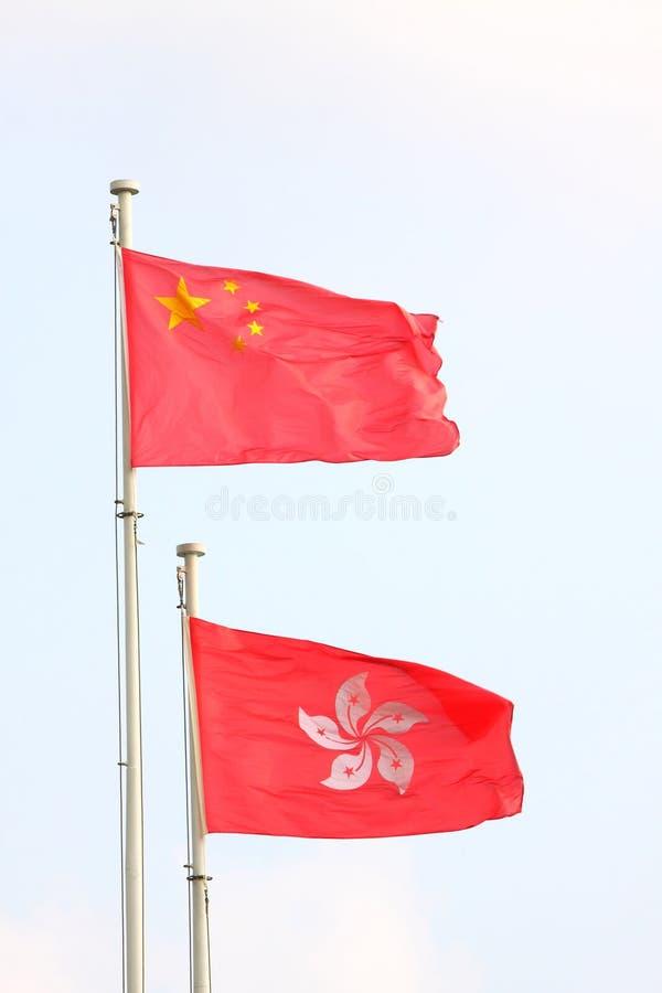 China-u. Hong- Kongmarkierungsfahnen stockfoto