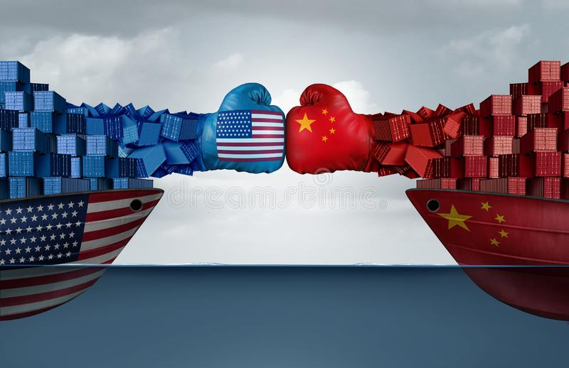 China United States Trade War. And American Chinese tariffs fight and economic dispute as two cargo container ships fighting over import and exports taxes as a royalty free illustration