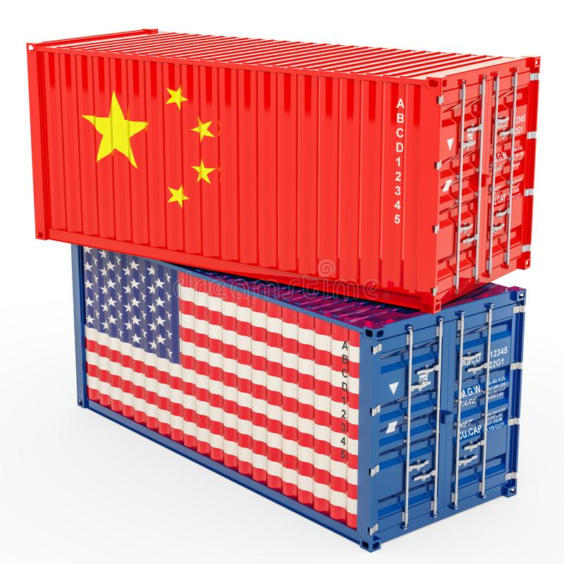 China and United States trade war concept, 3d rendering vector illustration