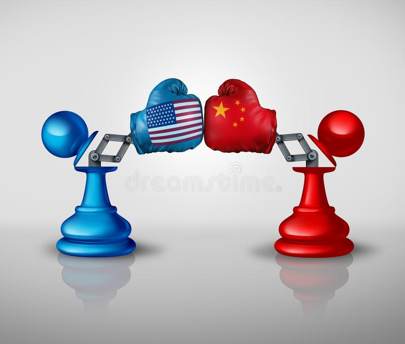 China United States Trade War Strategy. And American tariffs conflict with two chess pawns trading fight as an economic import and exports dispute concept with royalty free illustration