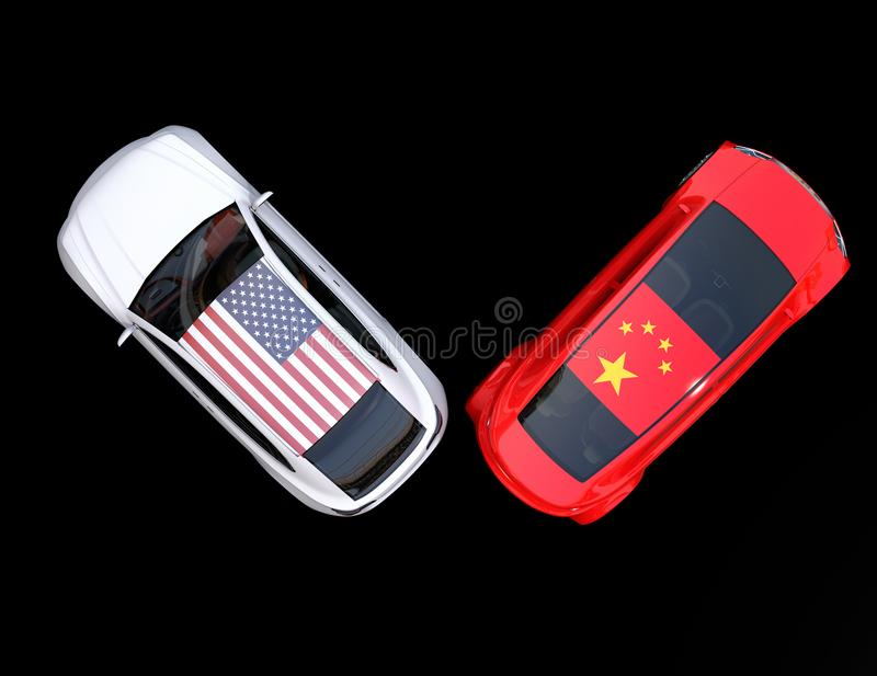 China and US flags on two automobiles roof royalty free illustration