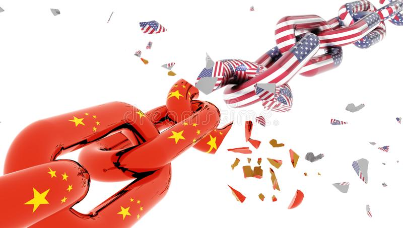 China usa america crisis and flag chain break suttered in peaces - 3d rendering royalty free illustration