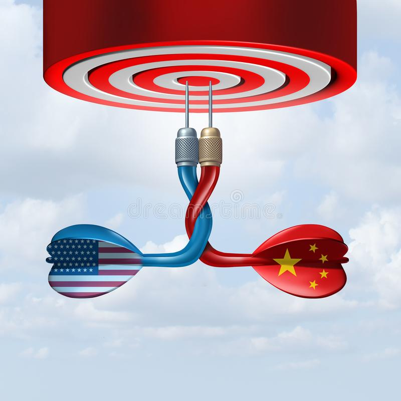 China USA Trade Deal. As representative dart symbols united together in a successful economic agreement with the United States and the Chinese as a 3D royalty free illustration