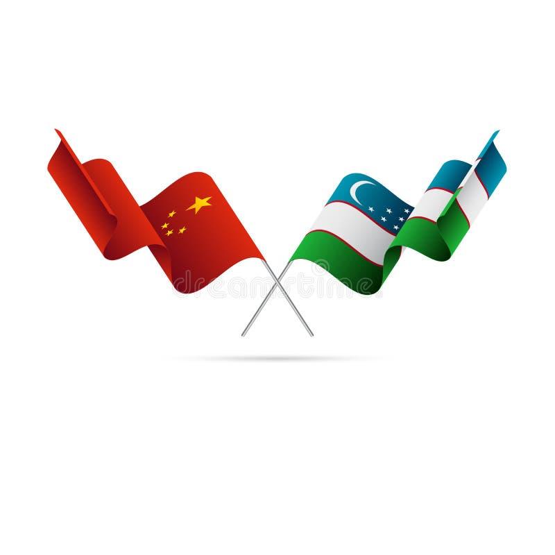 China and Uzbekistan flags. Vector illustration. royalty free illustration