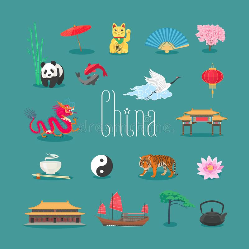 China vector icons, symbols with Chinese traditional landmarks, panda, tiger, temple. Travel to China concept design element vector illustration