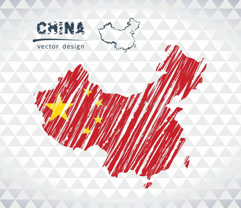 China vector map with flag inside isolated on a white background. Sketch chalk hand drawn illustration stock illustration