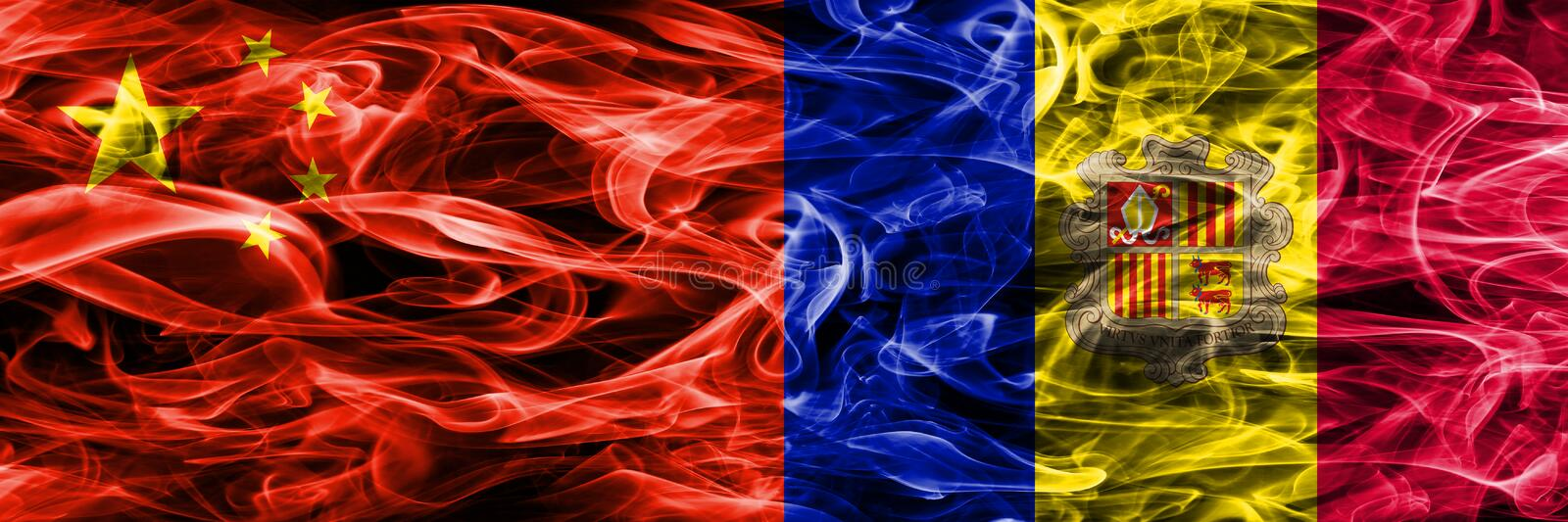 China vs Andorra smoke flags placed side by side stock illustration