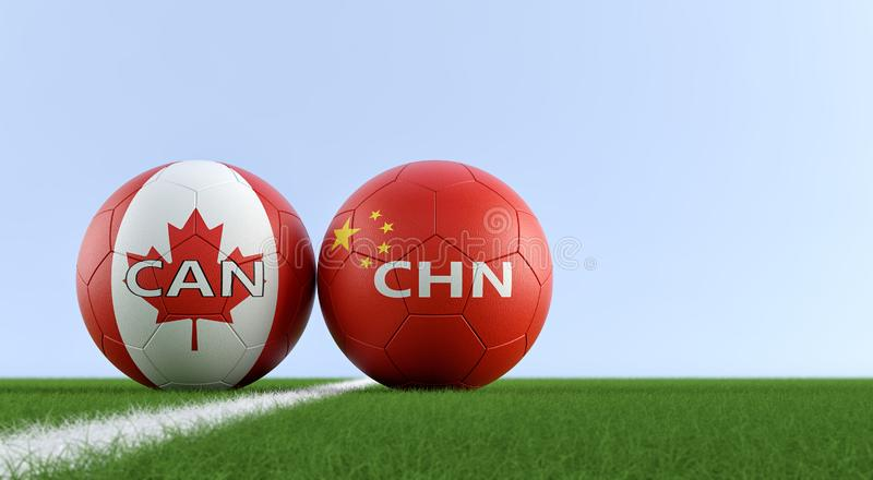 China vs. Canada Soccer Match - Soccer balls in China and Canada national colors on a soccer field. Copy space on the right side - 3D Rendering vector illustration