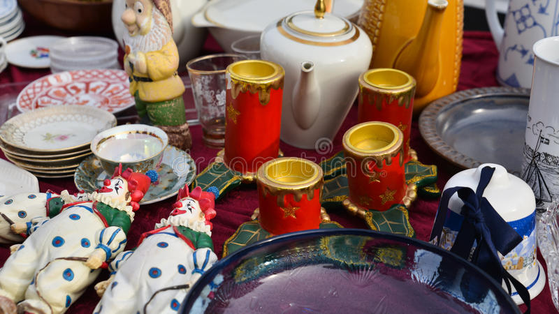 China ware. Different kinds of porcelain china ware, retro design and traditional shapes, Flea market royalty free stock images