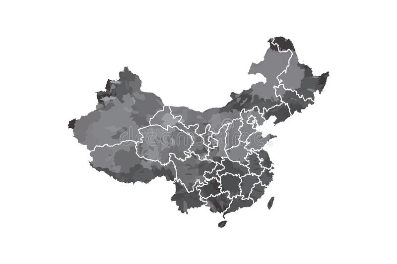China watercolor map vector illustration in black color with different regions or provinces on white background using paint brush. On paper royalty free illustration