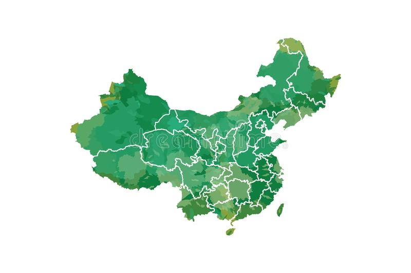 China watercolor map vector illustration in green color with different regions or provinces on white background using paint brush. On paper royalty free illustration