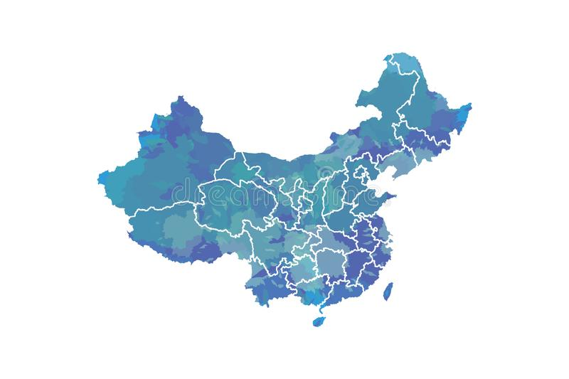 China watercolor map vector illustration in blue color with different regions or provinces on white background using paint brush. On paper stock illustration