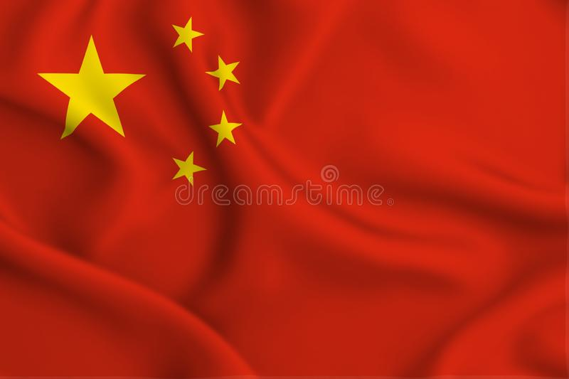 China flag illustration. China waving and closeup flag illustration. Perfect for background or texture purposes royalty free illustration