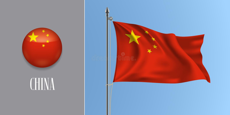 China waving flag on flagpole and round icon vector illustration royalty free illustration