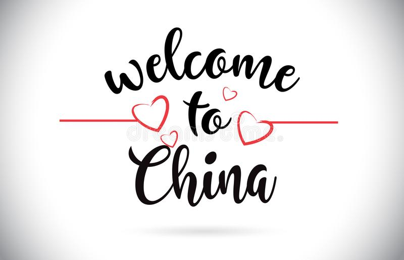 China Welcome To Message Vector Text with Red Love Hearts Illustration. royalty free illustration