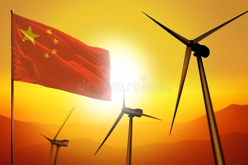 China-Windenergie, Umweltkonzept der alternativen Energie mit Windkraftanlagen und Flagge auf industrieller Illustration des Sonn lizenzfreie abbildung