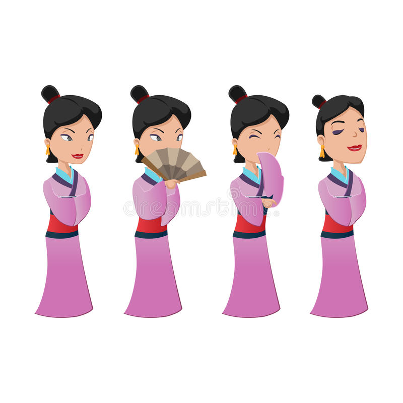 China Woman People Character Set royalty free illustration
