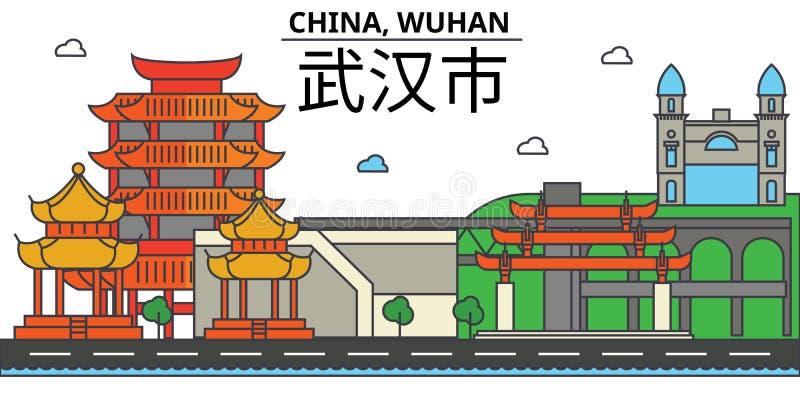 China, Wuhan De architectuur Editable van de stadshorizon vector illustratie
