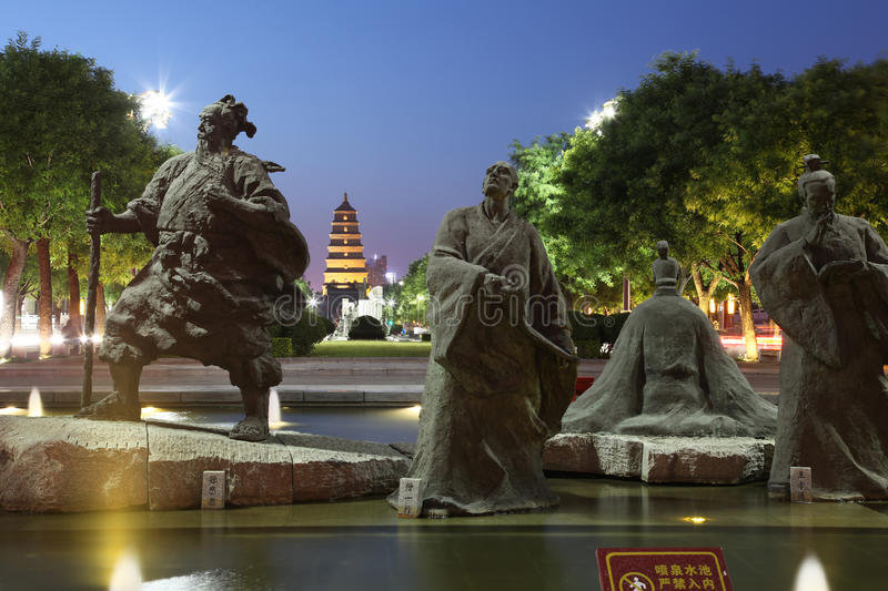 China (xi 'an wild goose pagoda) and datang city scenic area in shaanxi province. This is China's shaanxi xi 'an world famous tourist destination - wild goose stock photos